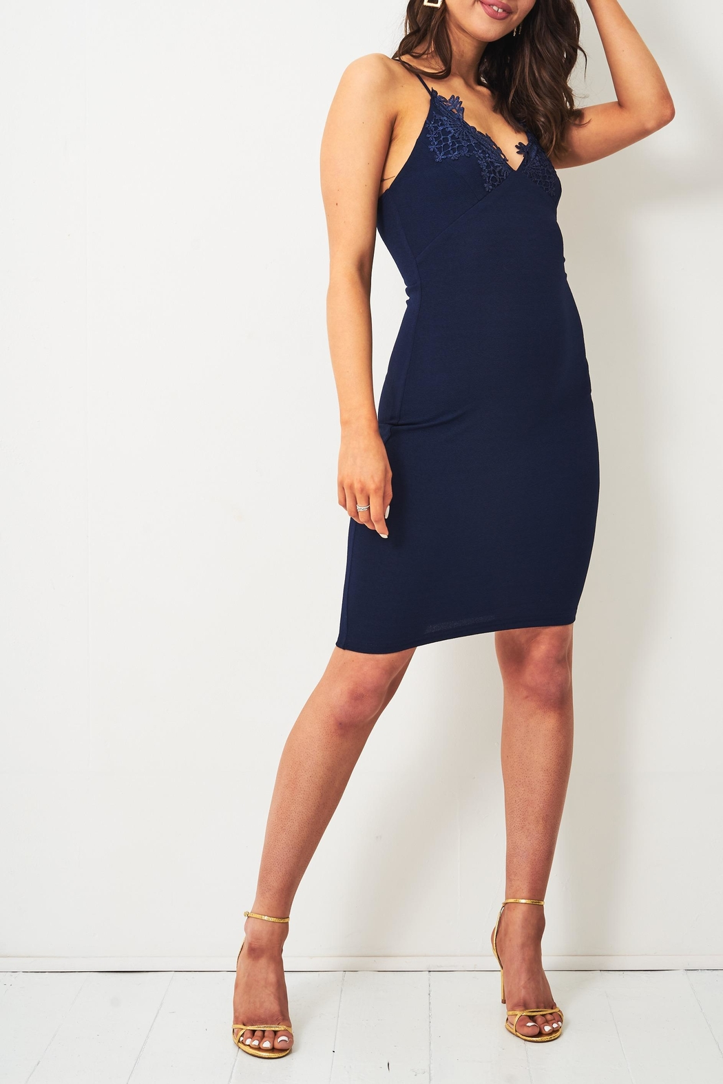 frontrow Navy Lace-Applique Dress - Front Full Image