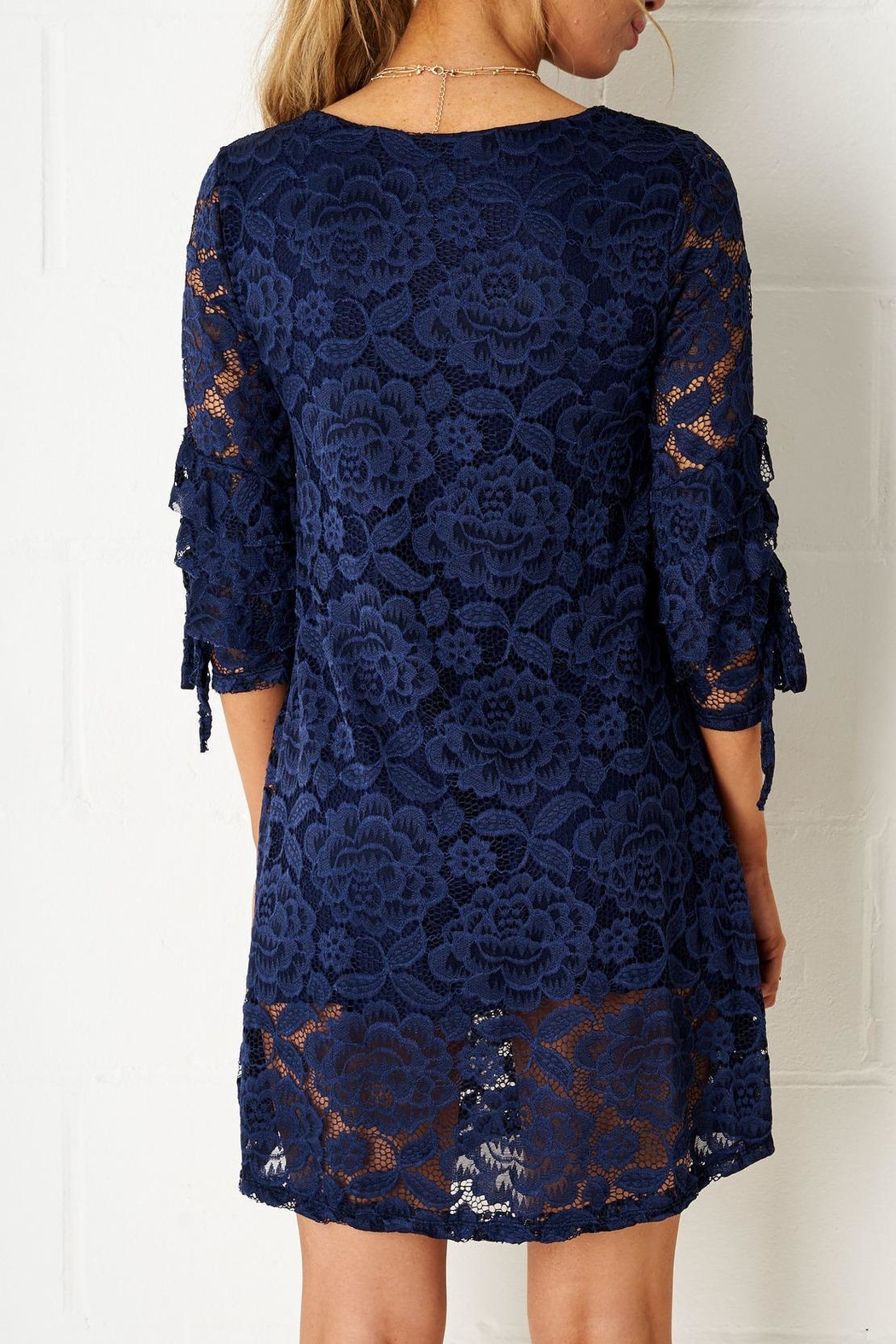 frontrow Navy Lace Dress - Front Full Image