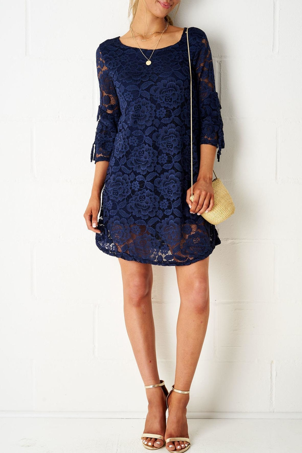 frontrow Navy Lace Dress - Side Cropped Image