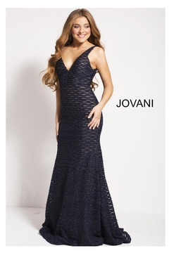 Jovani Navy Lace Gown - Product List Image