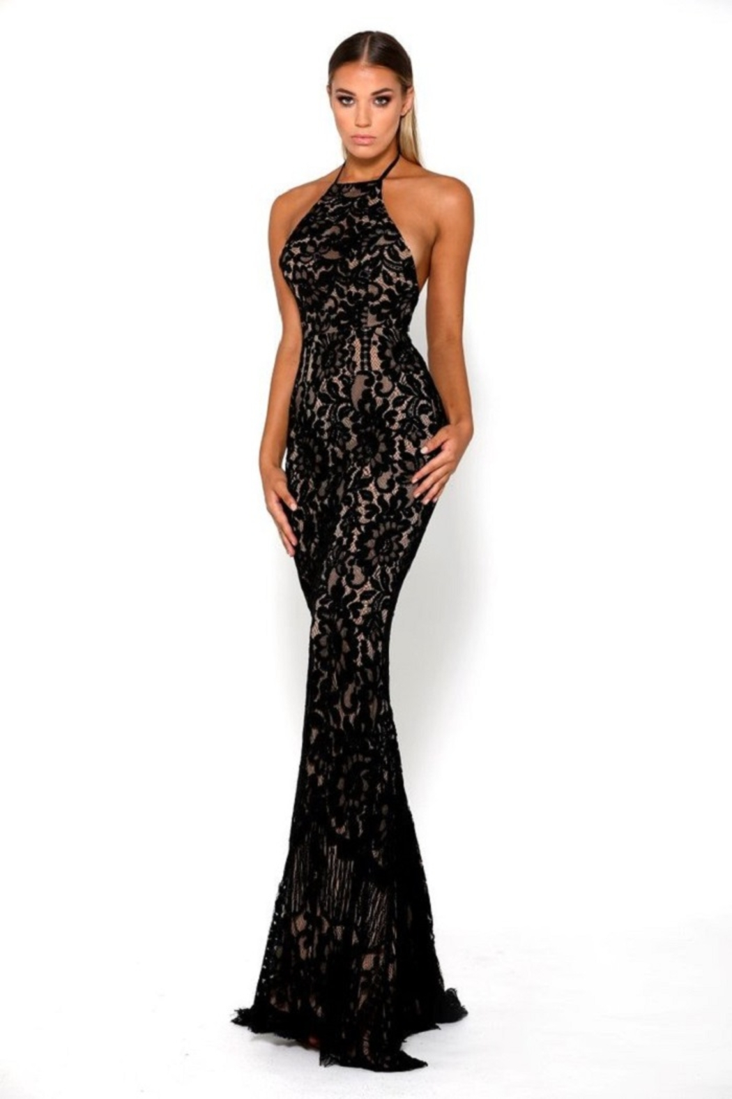PORTIA AND SCARLETT Navy Lace Halter Top Long Formal Dress - Main Image