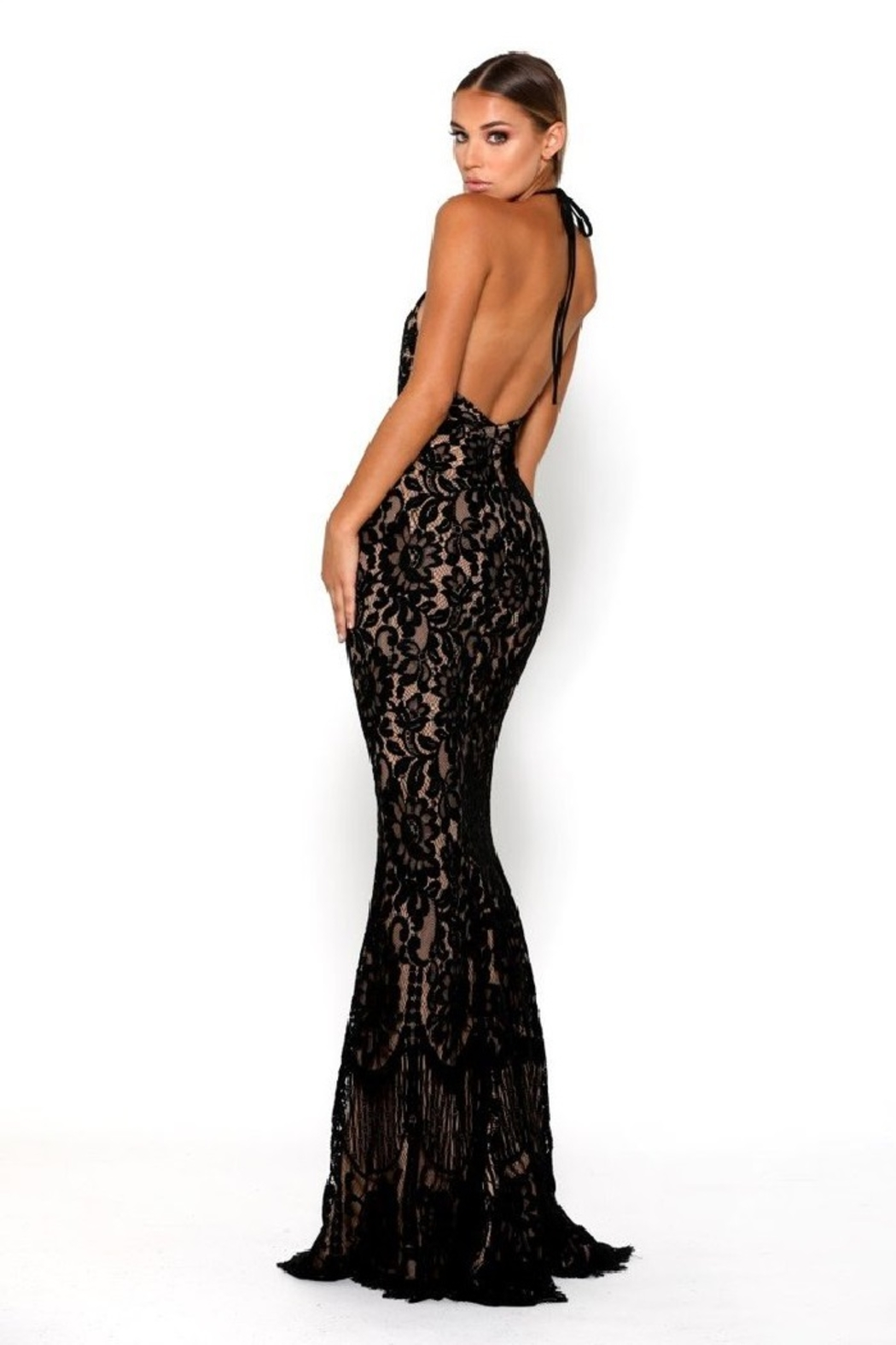 PORTIA AND SCARLETT Navy Lace Halter Top Long Formal Dress - Front Full Image