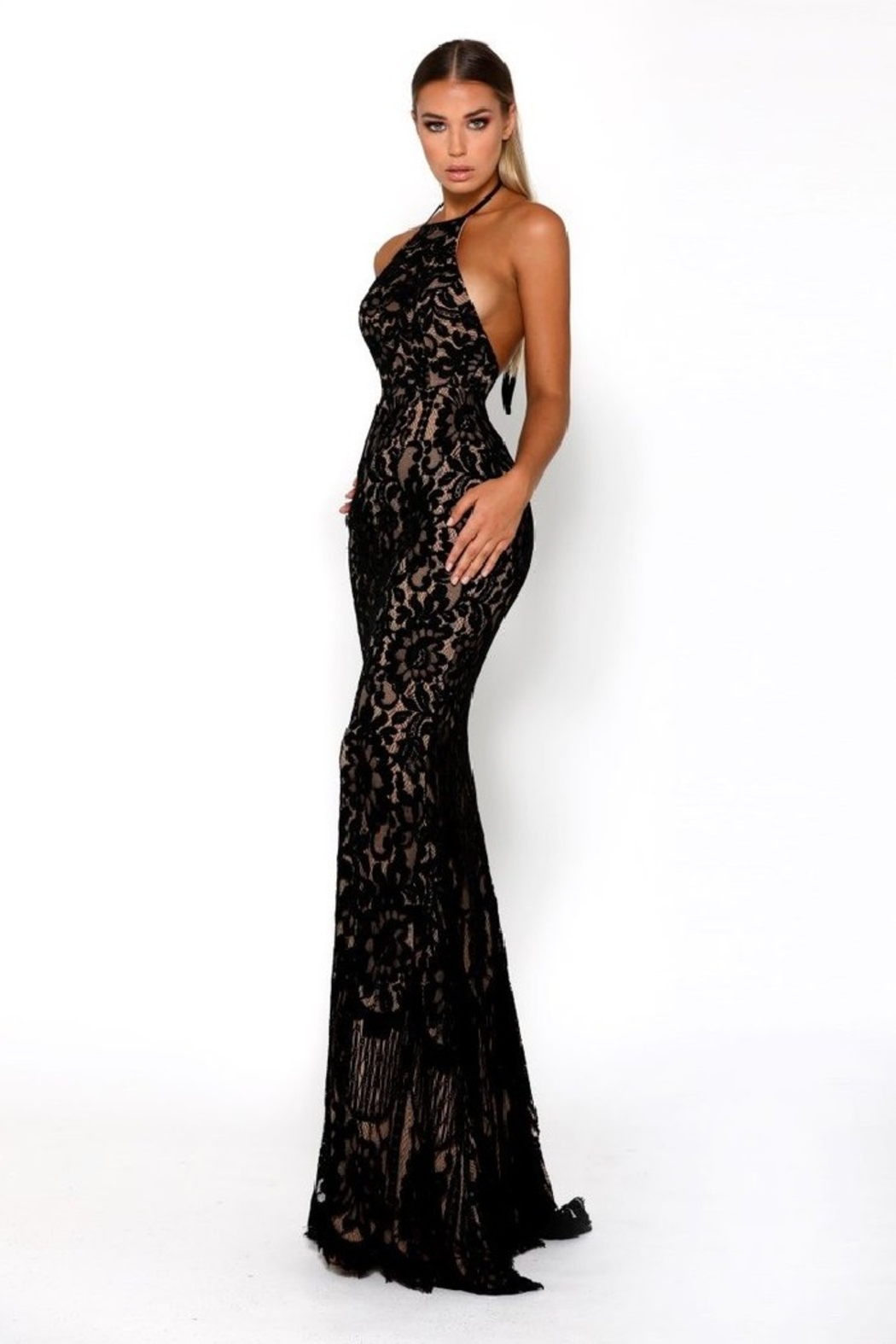 PORTIA AND SCARLETT Navy Lace Halter Top Long Formal Dress - Side Cropped Image