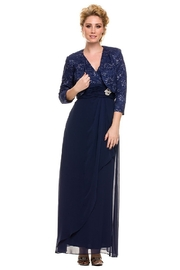 NOX A N A B E L Navy Lace Long Dress - Product Mini Image