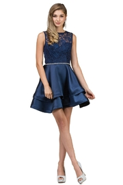 DANCING QUEEN Navy Layered Short Formal Dress - Product Mini Image