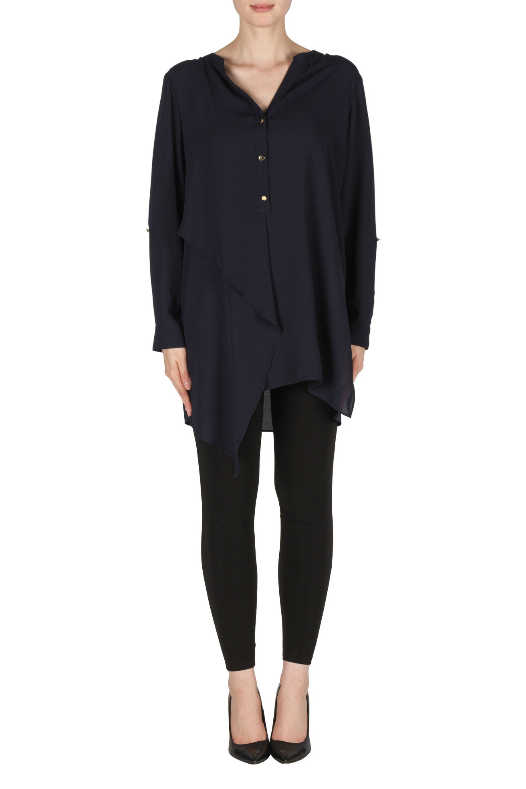 Joseph Ribkoff Navy Layered Tunic Blouse - Main Image