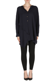 Joseph Ribkoff Navy Layered Tunic Blouse - Front cropped