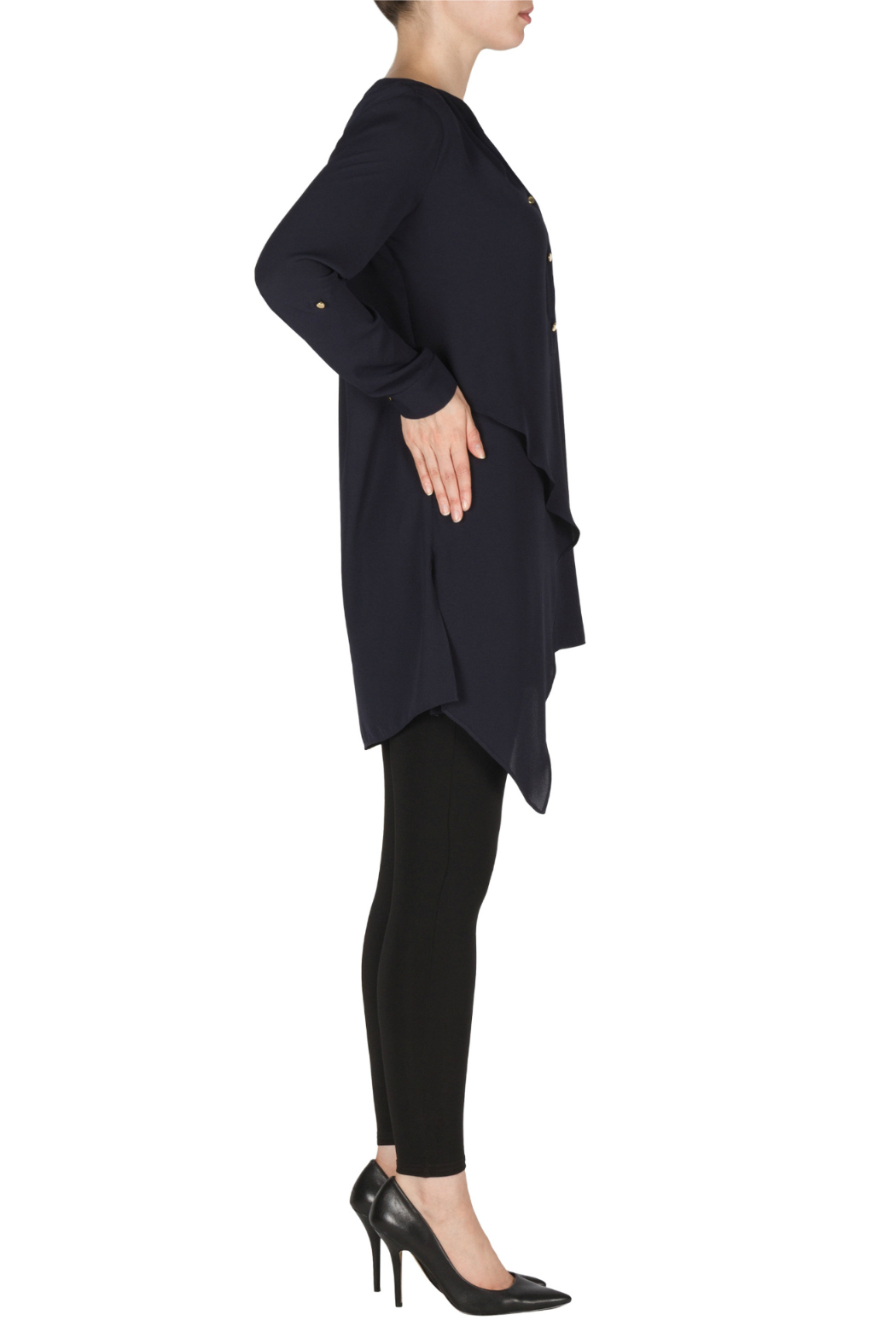 Joseph Ribkoff Navy Layered Tunic Blouse - Front Full Image