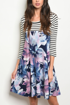WFS Navy & Lilac Floral Dress - Product List Image