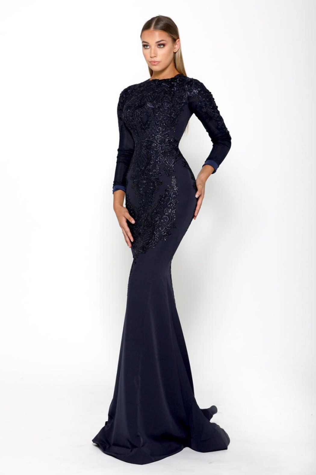 PORTIA AND SCARLETT Navy Long Sleeve Embroidered Long Formal Dress With Detachable Train - Side Cropped Image
