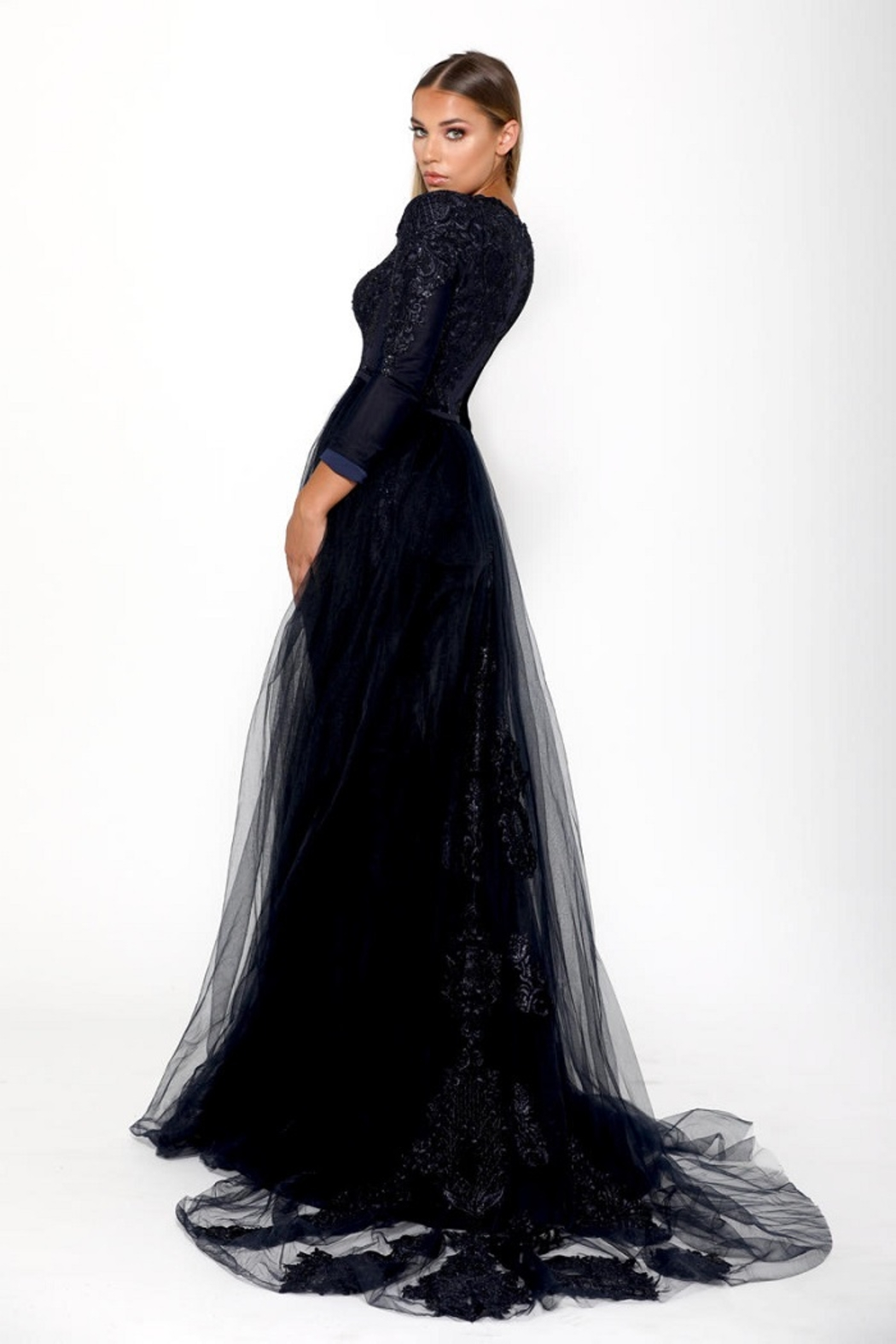 PORTIA AND SCARLETT Navy Long Sleeve Embroidered Long Formal Dress With Detachable Train - Front Full Image