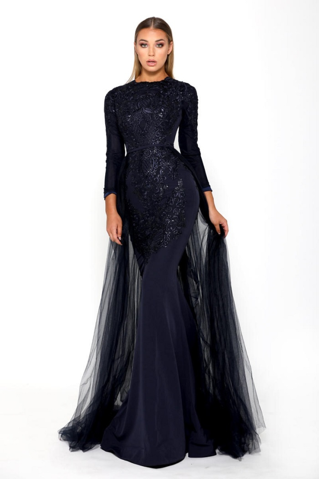 PORTIA AND SCARLETT Navy Long Sleeve Embroidered Long Formal Dress With Detachable Train - Main Image