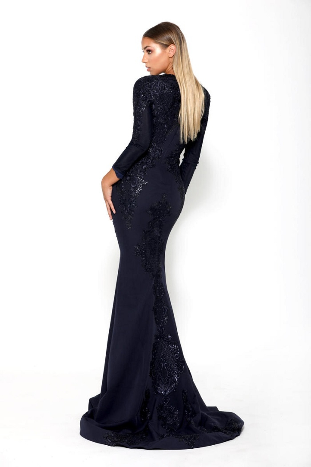PORTIA AND SCARLETT Navy Long Sleeve Embroidered Long Formal Dress With Detachable Train - Back Cropped Image
