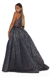 PORTIA AND SCARLETT Navy Long Sleeve Glitter Long Formal Dress With Detachable Train - Side cropped