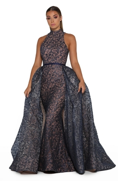 PORTIA AND SCARLETT Navy Long Sleeve Glitter Long Formal Dress With Detachable Train - Product List Image