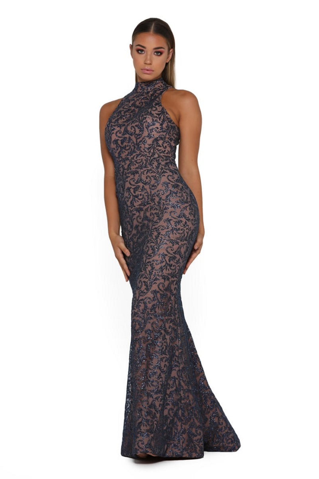 PORTIA AND SCARLETT Navy Long Sleeve Glitter Long Formal Dress With Detachable Train - Back Cropped Image