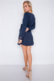 Le Lis Navy Long Sleeve Wrap Dress - Front cropped