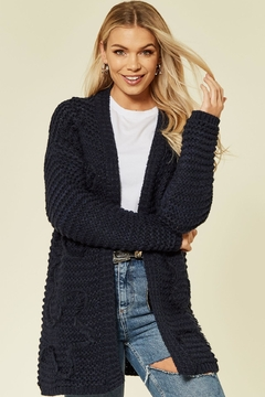 Urban Touch Navy Longsleeve Embroideredcardigan - Product List Image