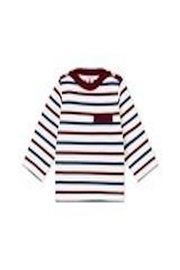 Petit Bateau Navy/maroon Striped Shirt - Front cropped