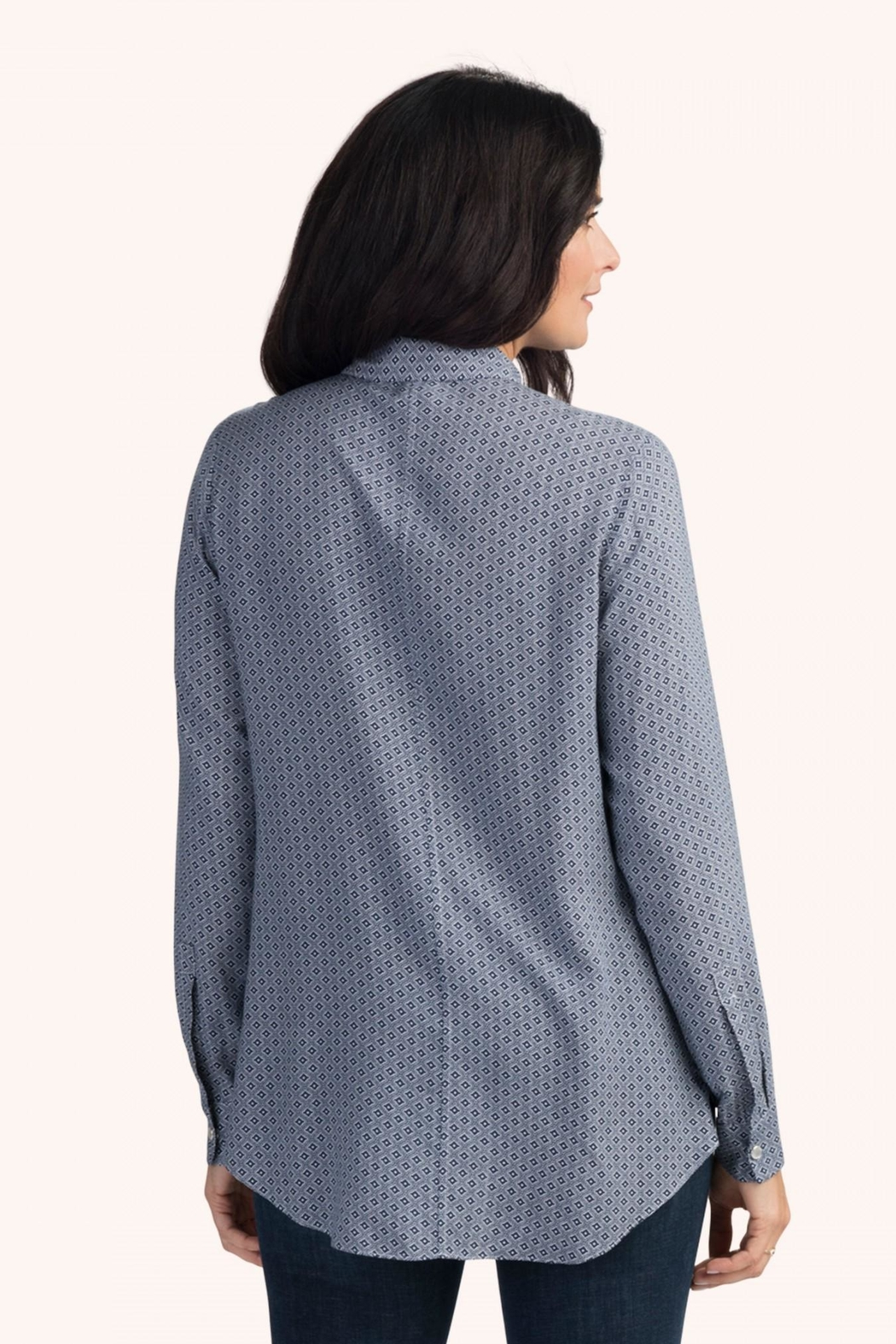 Hatley Navy Medallions Blouse - Front Full Image