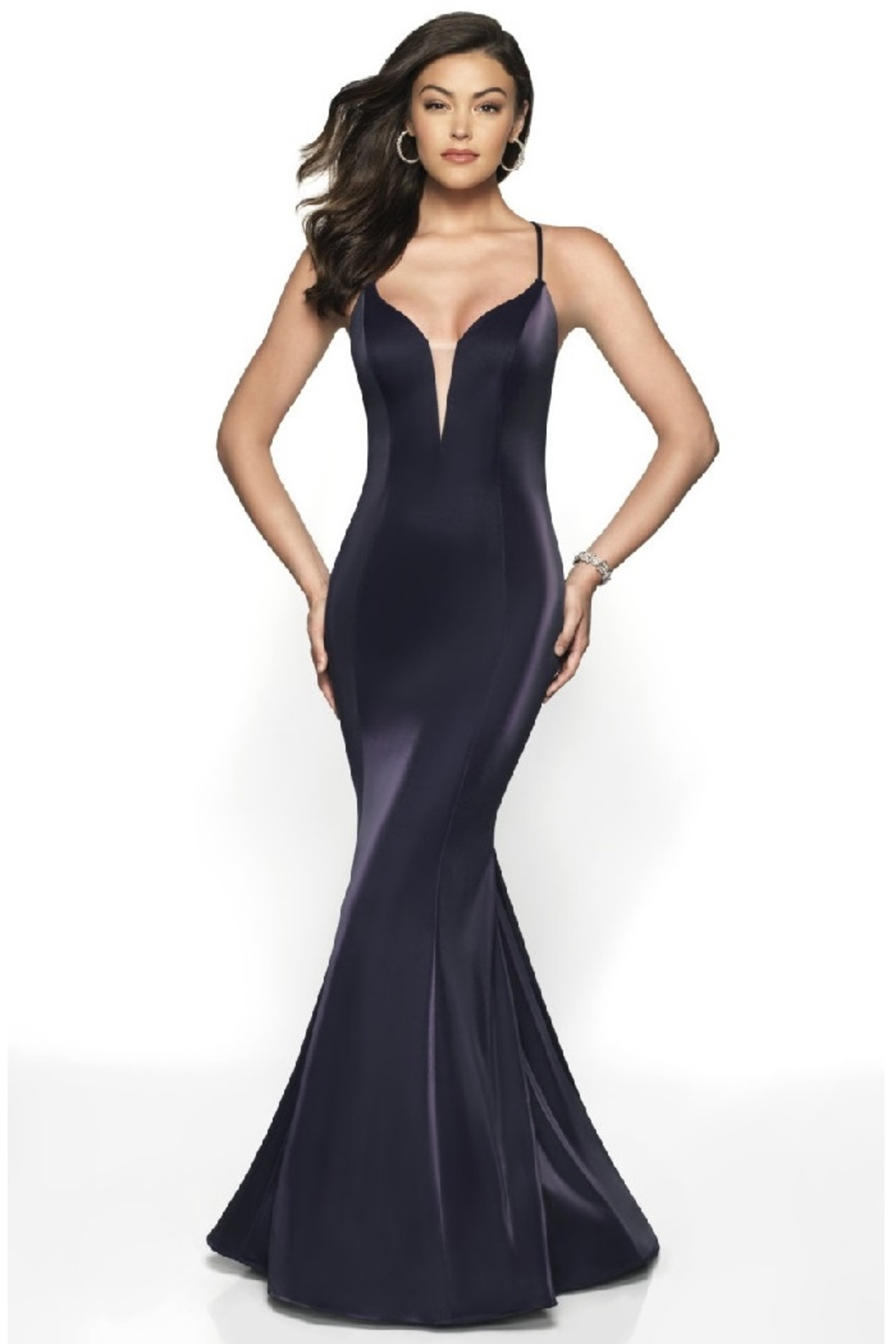Flair New York Navy Metallic Fit & Flare Long Formal Dress - Main Image