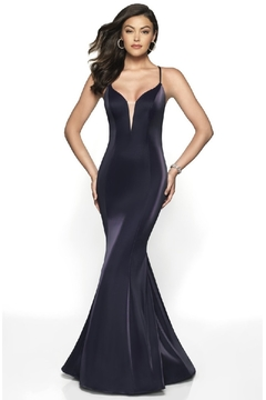 Flair New York Navy Metallic Fit & Flare Long Formal Dress - Product List Image