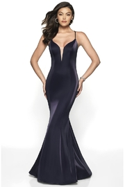 Flair New York Navy Metallic Fit & Flare Long Formal Dress - Front cropped