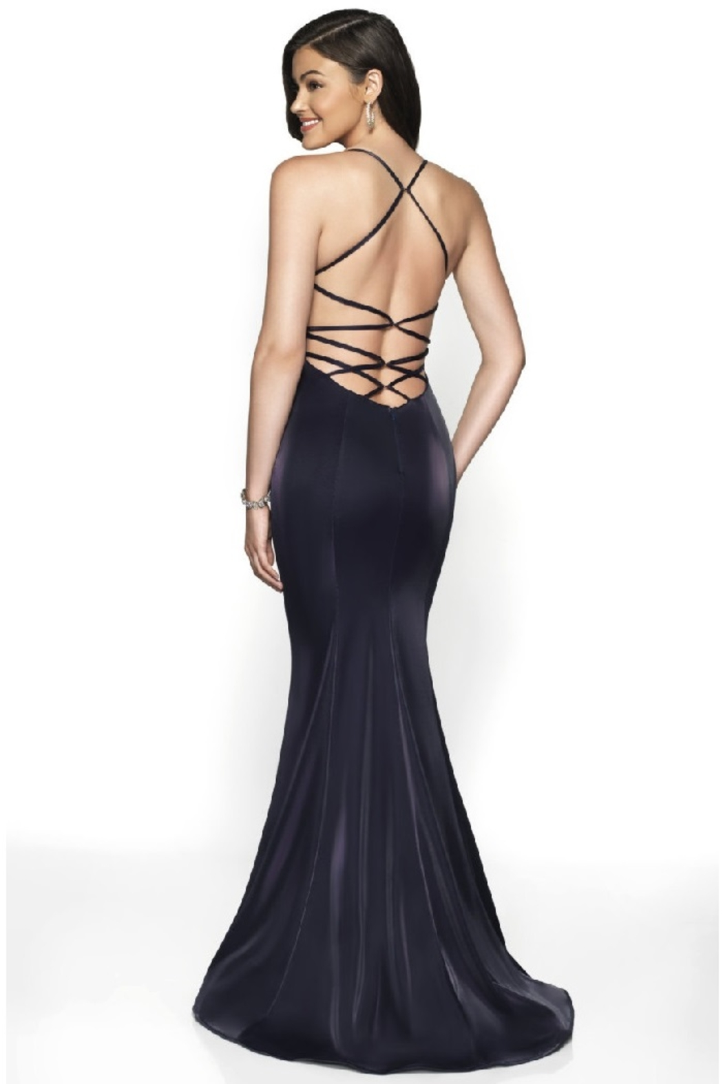 Flair New York Navy Metallic Fit & Flare Long Formal Dress - Front Full Image