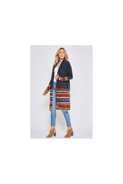 Beeson River Navy Multi-Stripe Cardigan with animal print - Alternate List Image