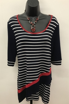 Michael Tyler Collections Navy Nautical Stripe Top - Product List Image