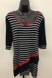 Michael Tyler Collections Navy Nautical Stripe Top - Product Mini Image