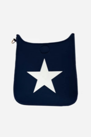 Ah!dorned Navy Neoprene Messenger w/ White Star - NO STRAP ATTACHED - Front cropped