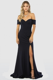 NOX A N A B E L Navy Off Shoulder Fit & Flare Long Formal Dress - Product Mini Image