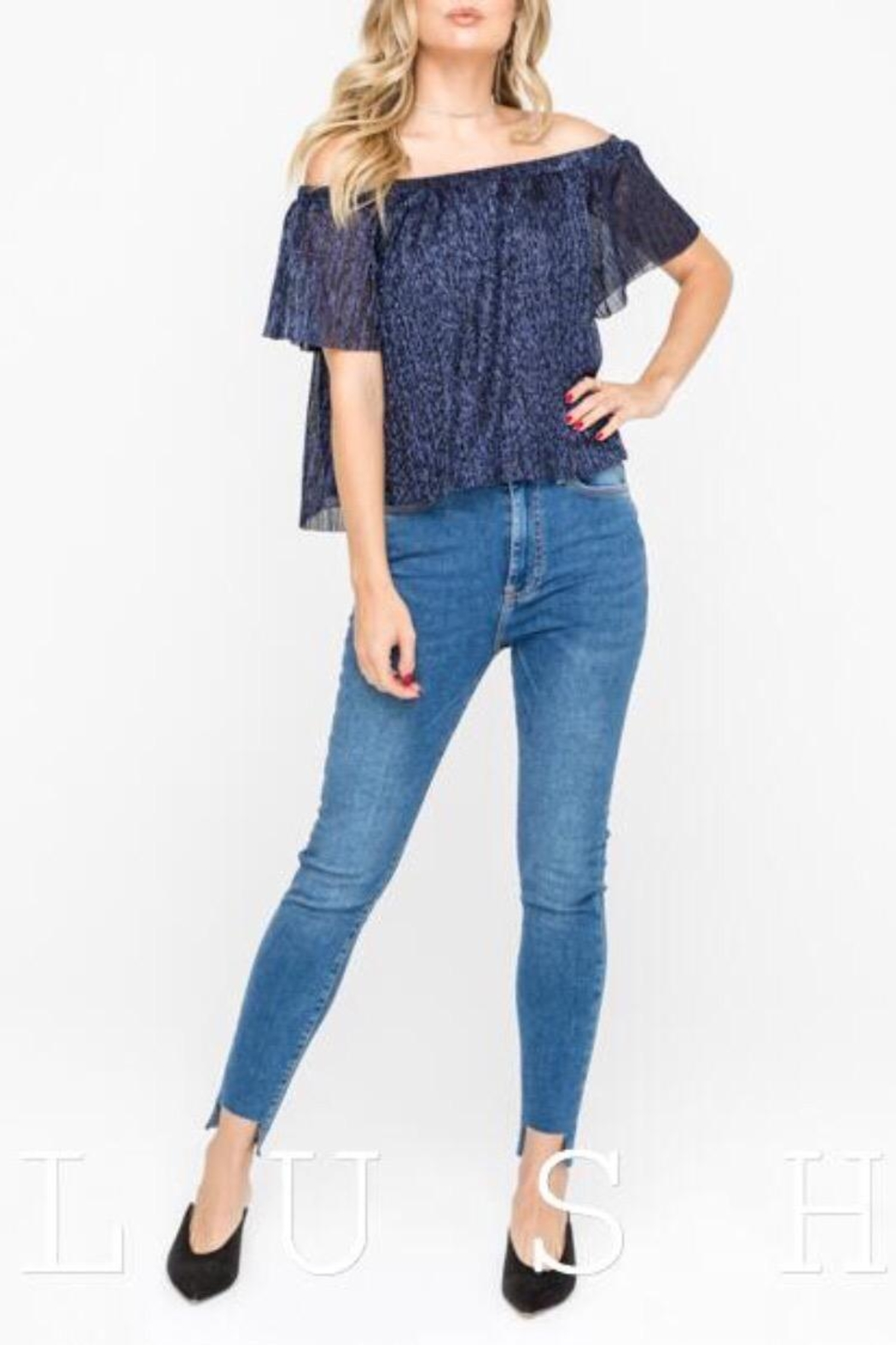 Lush Navy Off-Shoulder Top - Main Image