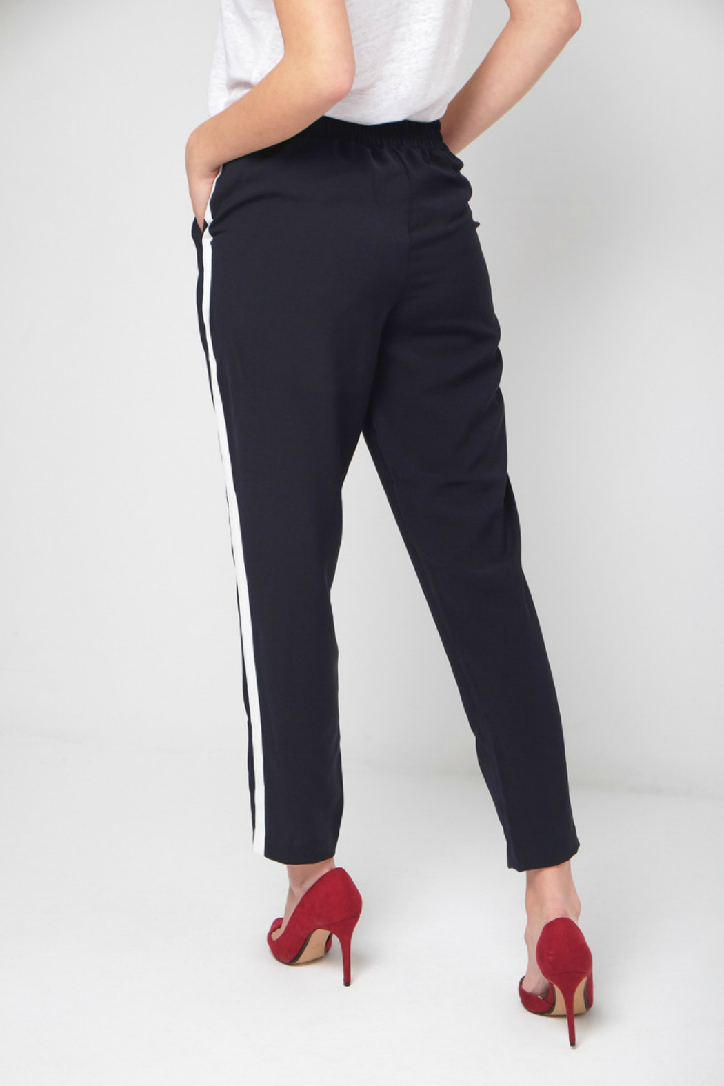 Best Mountain Navy Pant w White Side Stripe - Front Full Image
