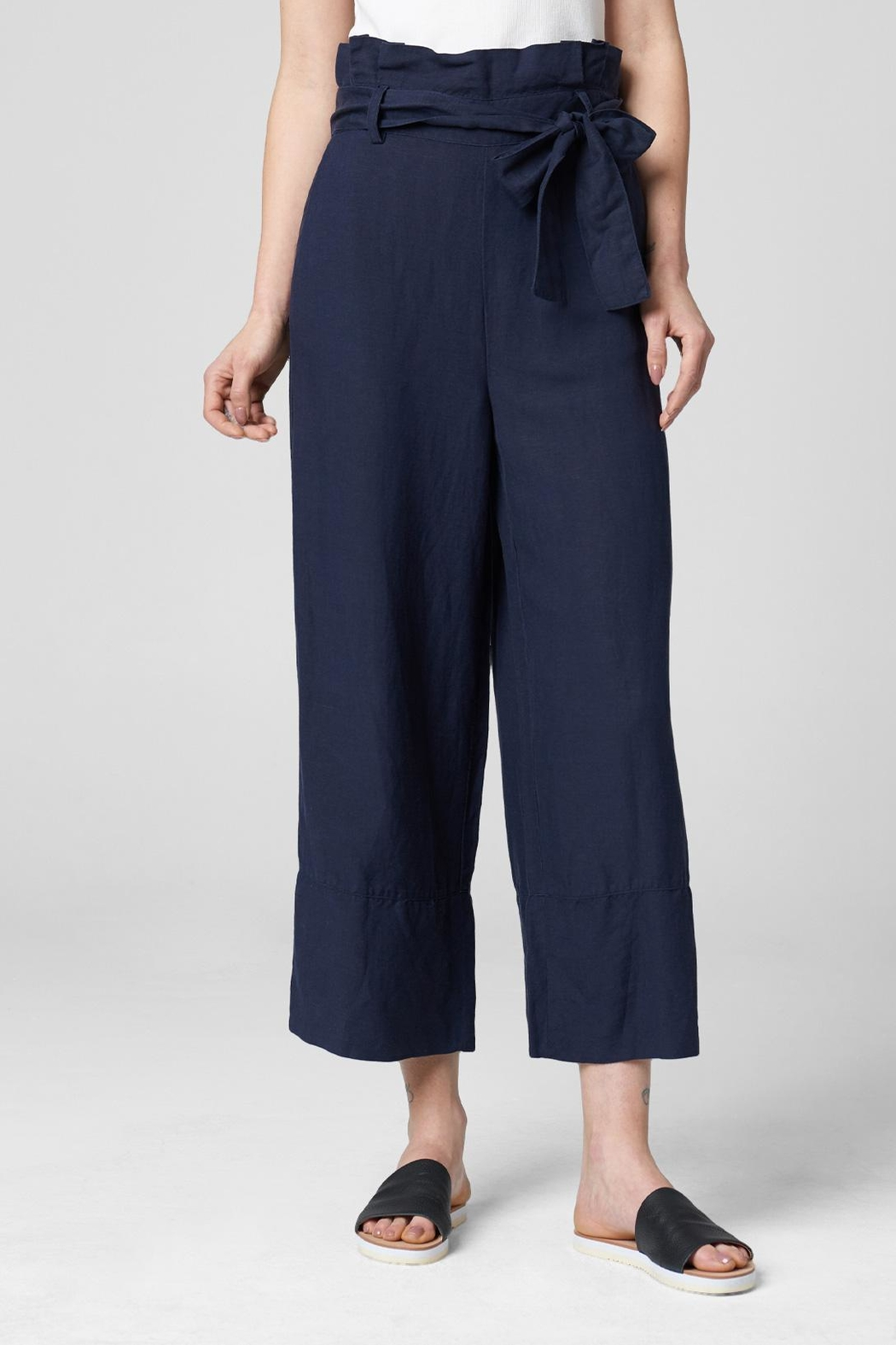 Blank NYC Navy Paperbag Pant - Front Full Image