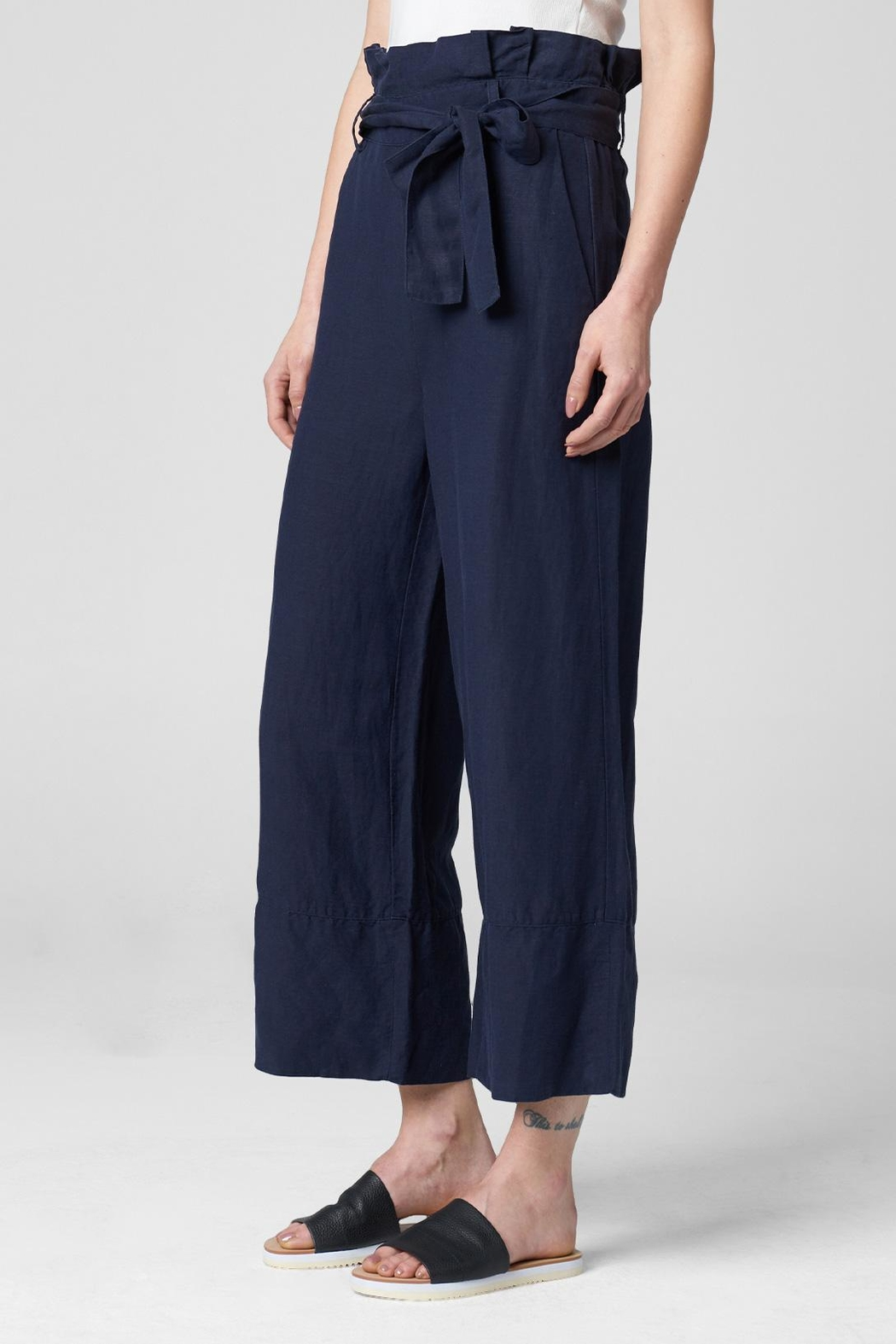 Blank NYC Navy Paperbag Pant - Side Cropped Image