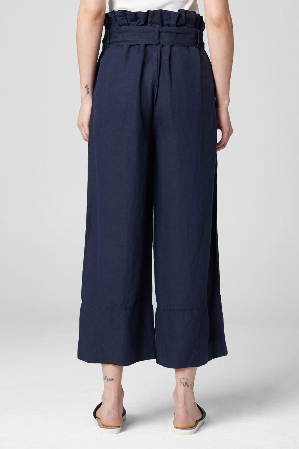 Blank NYC Navy Paperbag Pant - Back Cropped Image