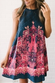 Free People Navy Pattern Dress - Front cropped