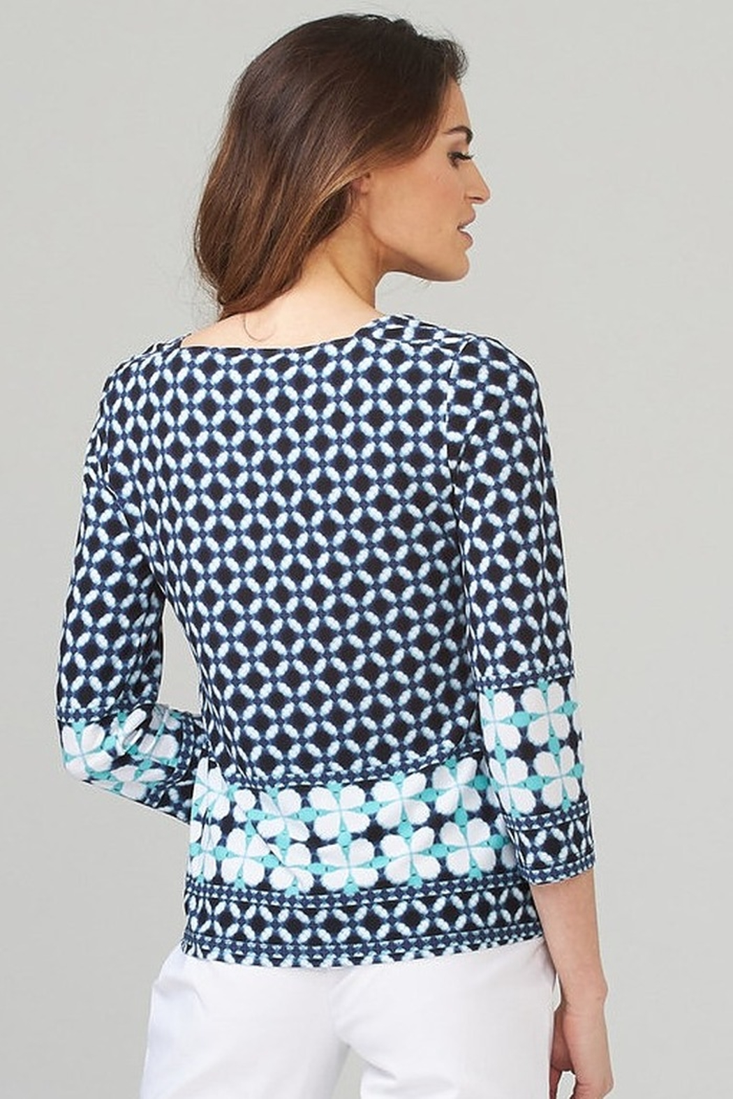 Joseph Ribkoff  Navy patterned tunic top - Front Full Image