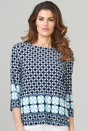 Joseph Ribkoff  Navy patterned tunic top - Front cropped