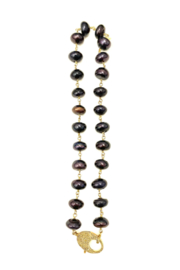 The Woods Fine Jewelry  Navy Pearl Brass Short Necklace - Product Mini Image