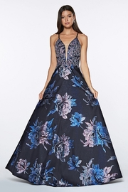 Cinderella Divine Navy & Pink Floral Metallic Long Formal Dress - Product Mini Image