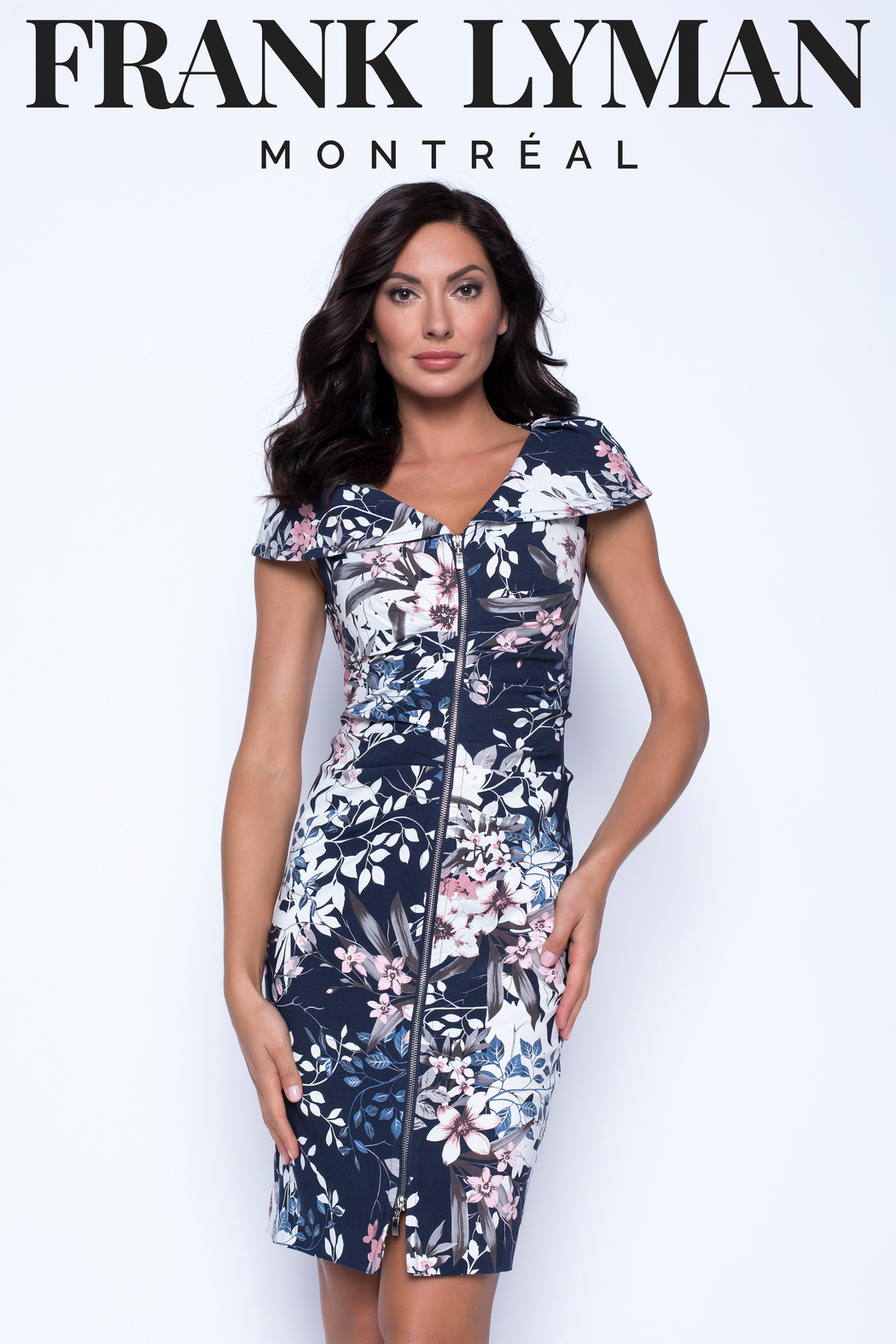 Frank Lyman Navy/Pink Floral Woven Dress - Main Image