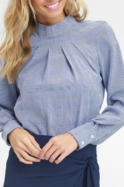 Listicle Navy Pintuck Blouse - Product Mini Image