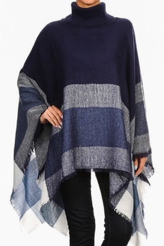 Ellie & Kate Navy Plaid Poncho - Product List Image