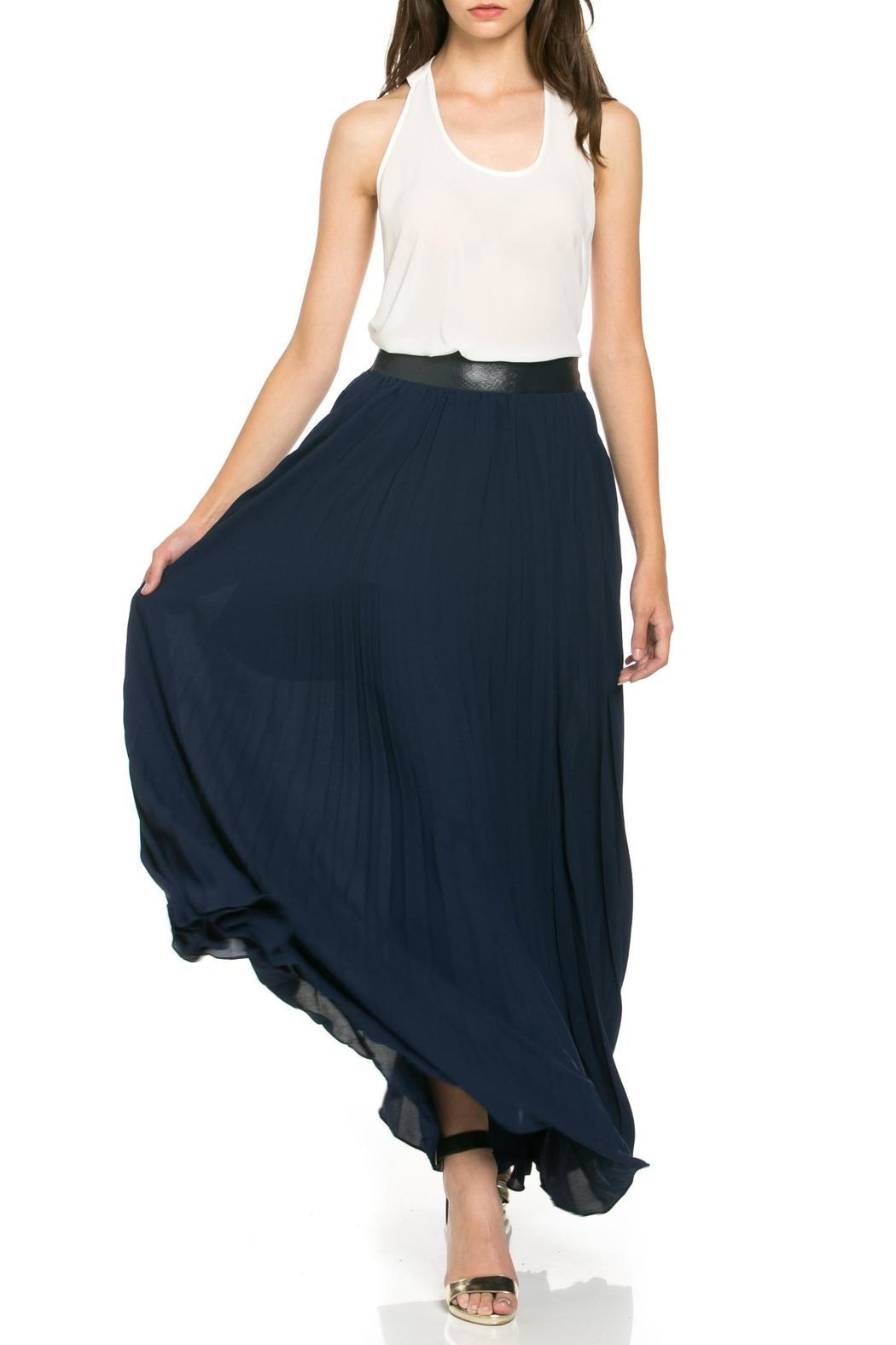 TOV Navy Pleated Skirt - Front Cropped Image
