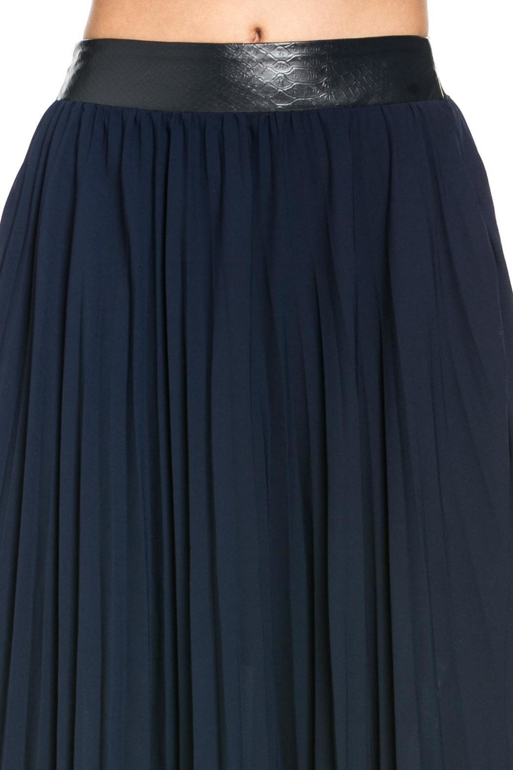 TOV Navy Pleated Skirt - Side Cropped Image
