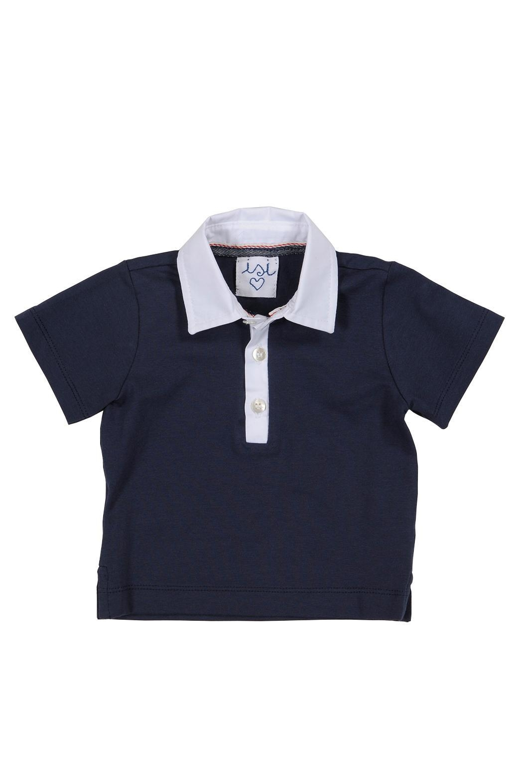 Malvi & Co. Navy Polo Tee. - Front Cropped Image