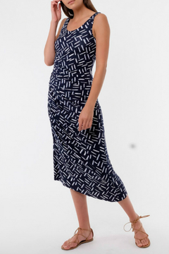 Shoptiques Product: Navy Print  Ruched Side Maxi